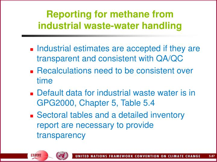 Reporting for methane from industrial waste-water handling