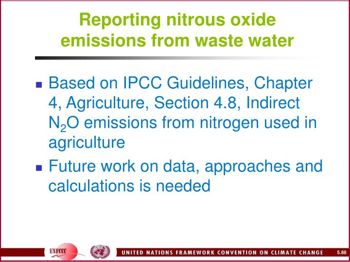 Reporting nitrous oxide emissions from waste water