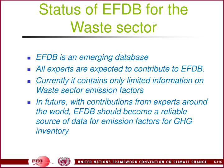 Status of EFDB for the Waste sector
