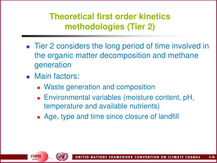 Theoretical first order kinetics methodologies (Tier 2)