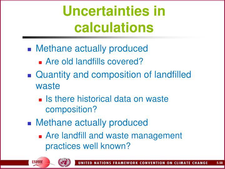 Uncertainties in calculations