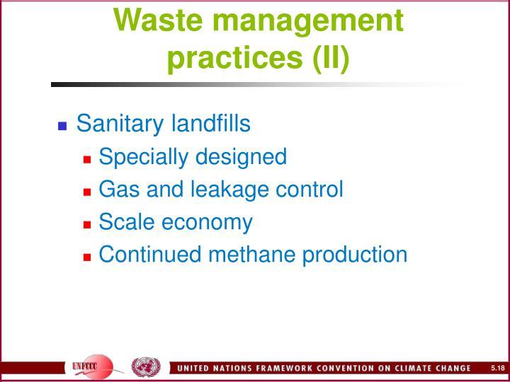 Waste management practices (II)