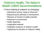 children s health the nation s wealth 2004 recommendations1