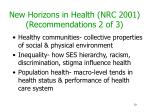 new horizons in health nrc 2001 recommendations 2 of 3
