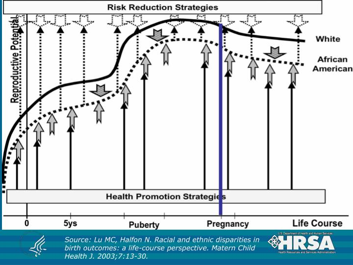 Source: Lu MC, Halfon N. Racial and ethnic disparities in birth outcomes: a life-course perspective. Matern Child Health J. 2003;7:13-30.