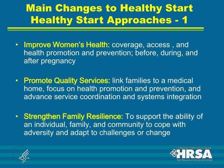 Main Changes to Healthy Start