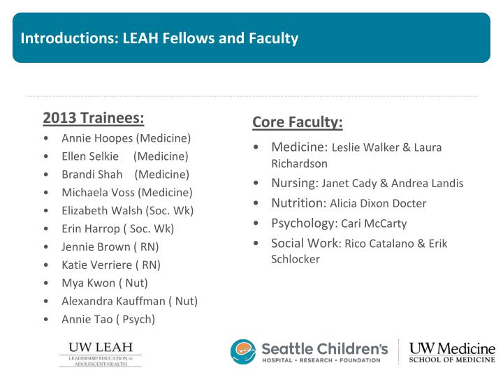 Introductions: LEAH Fellows and Faculty