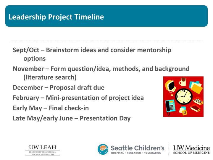 Leadership Project Timeline