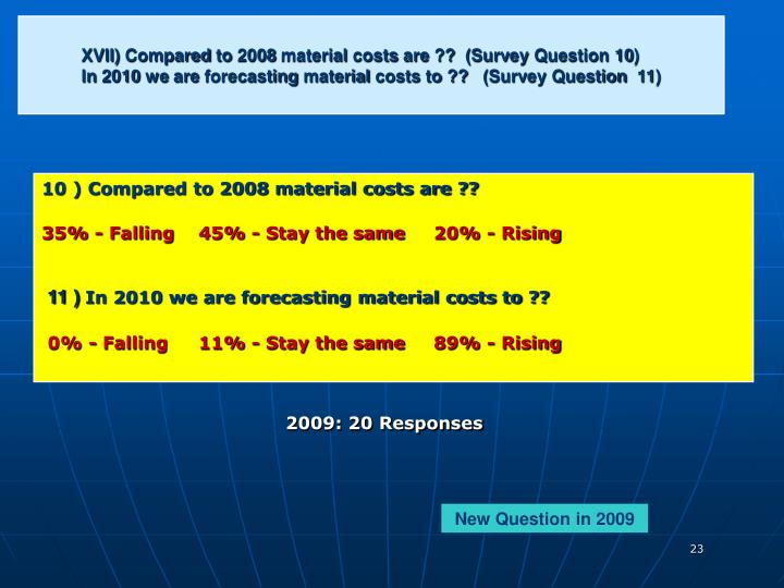 XVII) Compared to 2008 material costs are ??  (Survey Question 10)
