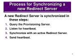 process for synchronizing a new redirect server