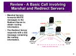 review a basic call involving marshal and redirect servers
