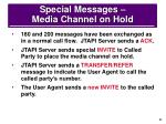 special messages media channel on hold
