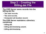 step 2 creating the billing dat file