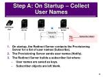 step a on startup collect user names