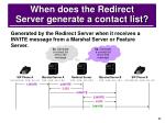 when does the redirect server generate a contact list