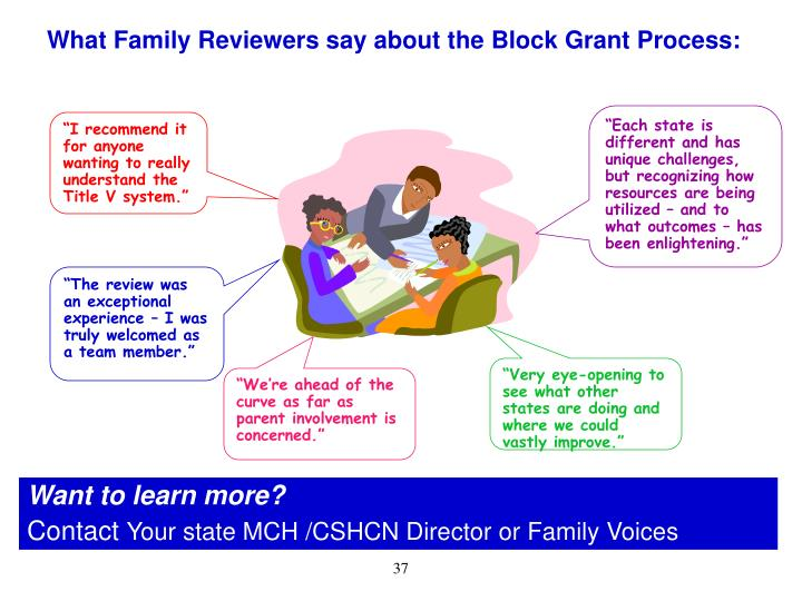 What Family Reviewers say about the Block Grant Process: