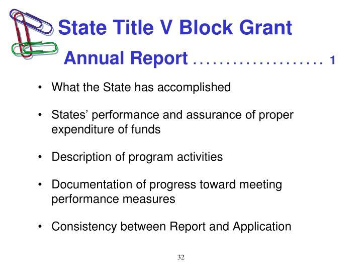 State Title V Block Grant
