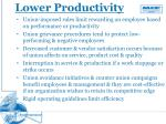 lower productivity
