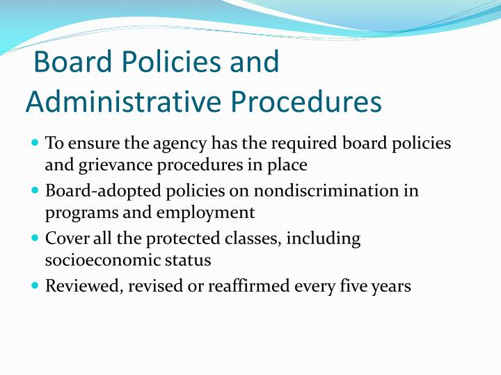 Board Policies and Administrative Procedures