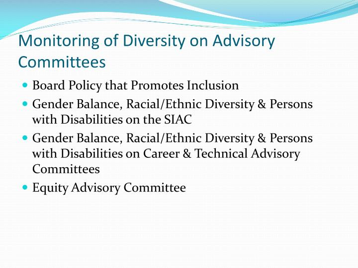 Monitoring of Diversity on Advisory Committees