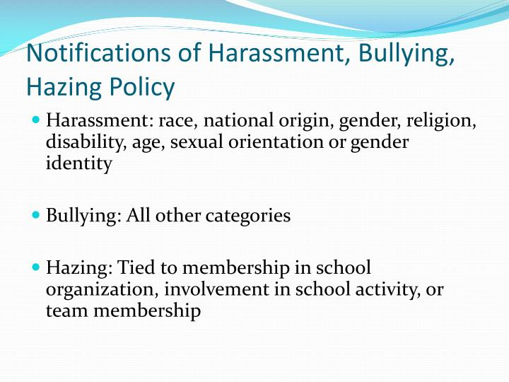 Notifications of Harassment, Bullying, Hazing Policy