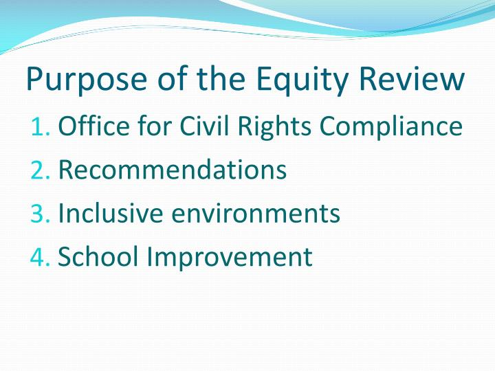 Purpose of the Equity Review