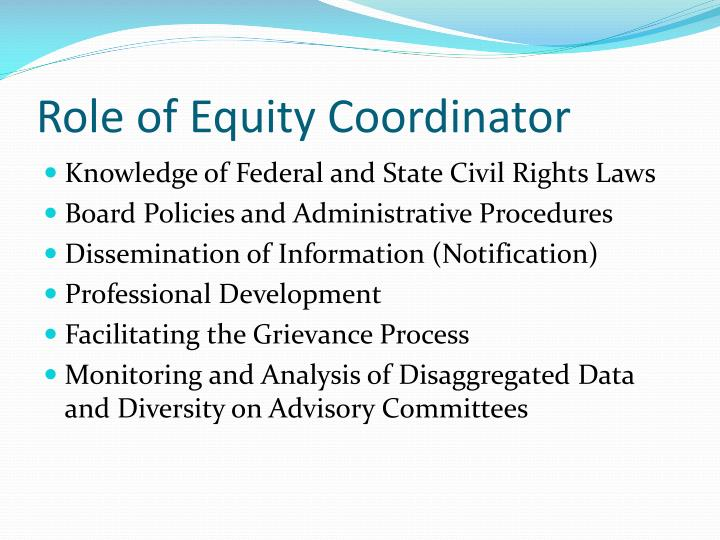 Role of Equity Coordinator