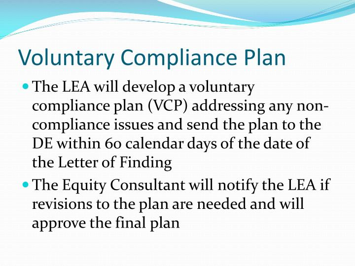 Voluntary Compliance Plan