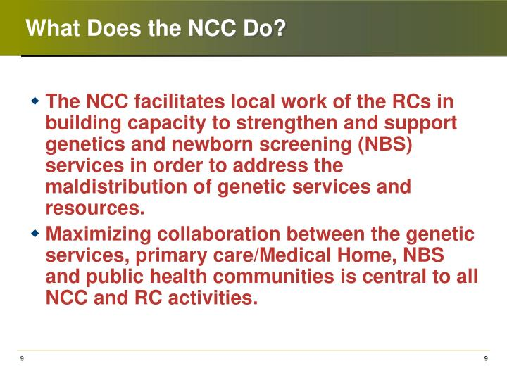 What Does the NCC Do?