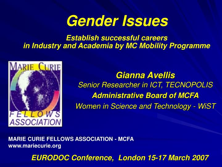 Gender issues establish successful careers in industry and academia by mc mobility programme