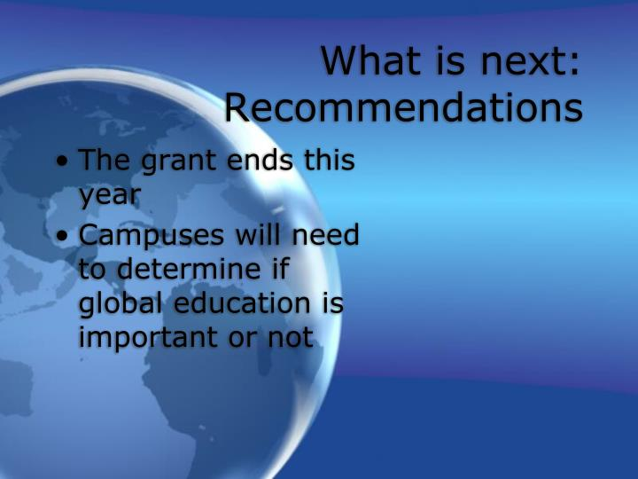 What is next:  Recommendations