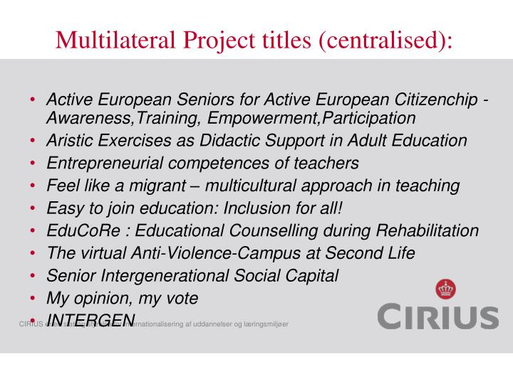 Multilateral Project titles (centralised):