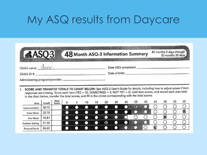 My ASQ results from Daycare