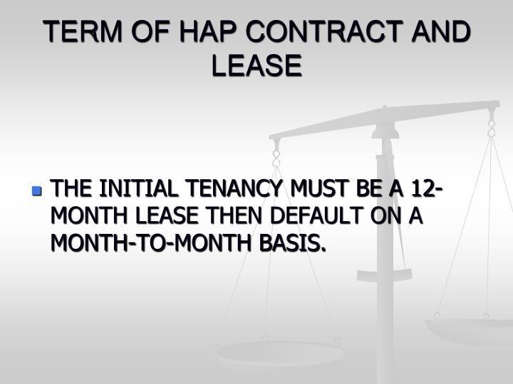 TERM OF HAP CONTRACT AND LEASE