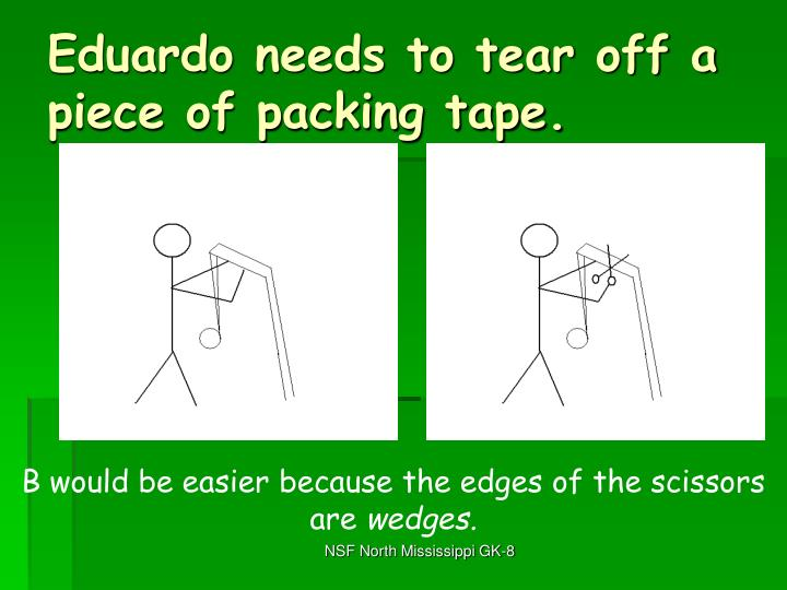 Eduardo needs to tear off a piece of packing tape.