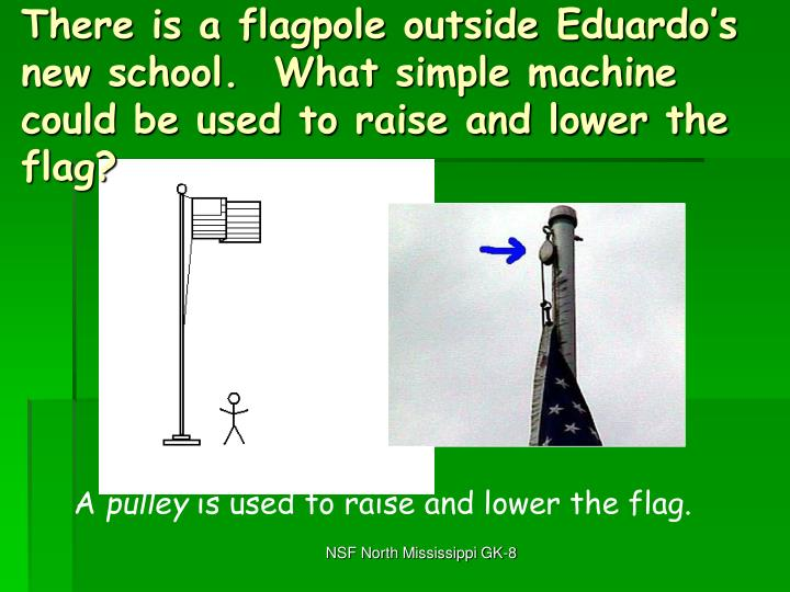 There is a flagpole outside Eduardo's new school.  What simple machine could be used to raise and lower the flag?