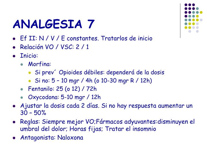 ANALGESIA 7