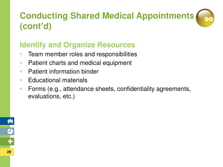 Conducting Shared Medical Appointments (cont