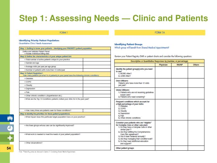 Step 1: Assessing Needs — Clinic and Patients