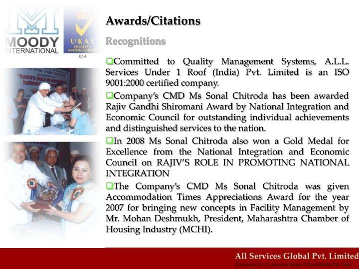 Awards/Citations