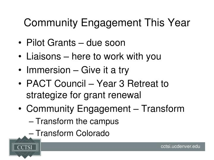 Community Engagement This Year
