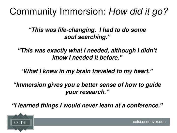 Community Immersion: