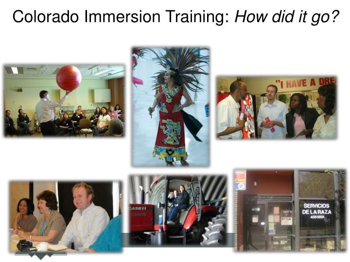 Colorado Immersion Training: