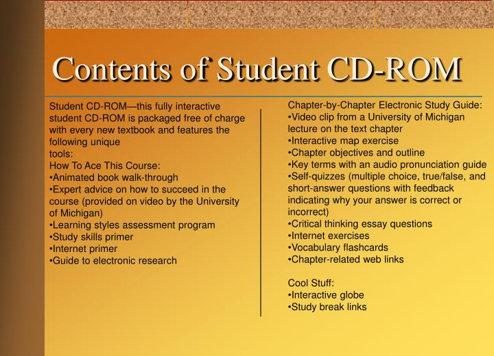 Contents of student cd rom