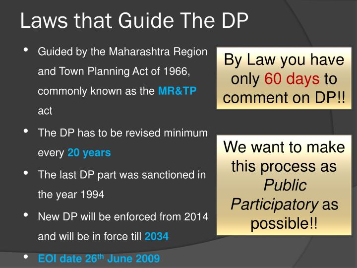Laws that guide the dp