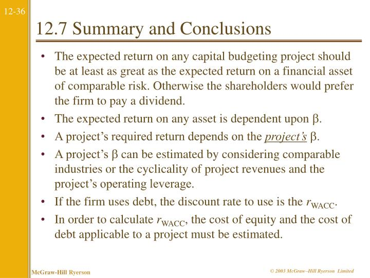 12.7 Summary and Conclusions