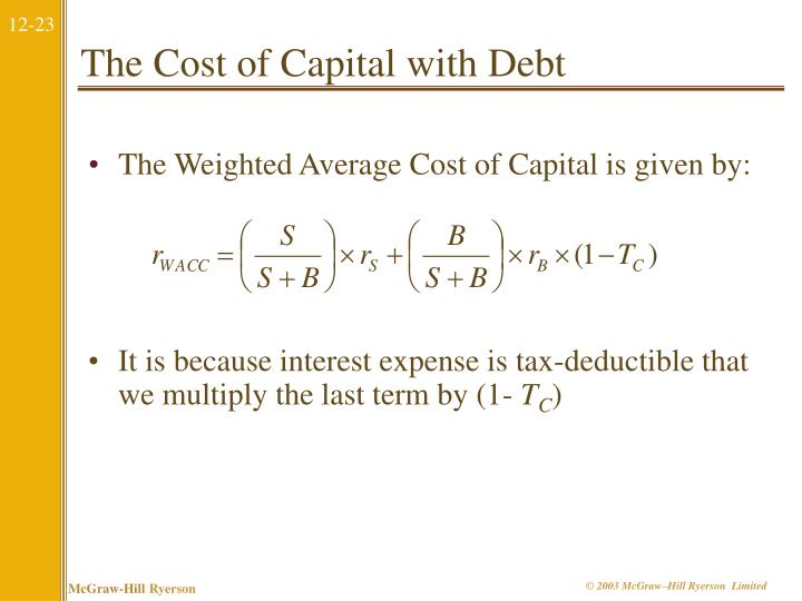 The Cost of Capital with Debt