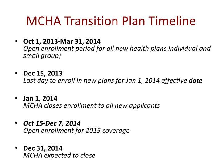 MCHA Transition Plan Timeline
