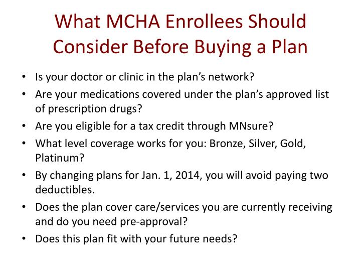 What MCHA Enrollees Should Consider Before Buying a Plan