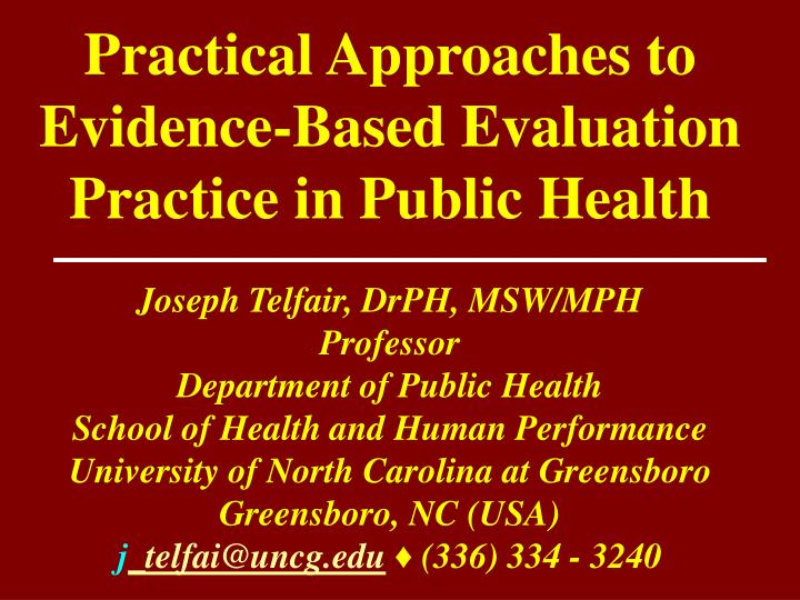 practical approaches to evidence based evaluation practice in public health n.